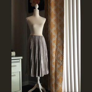 Metallic Silver Accordion Pleat Skirt NWT